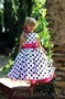 Платье детское белое в горох 10-005